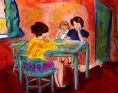Table Talk 4x6 Print Greeting Card of Origianal Acrylic Painting