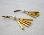 Vintage raw brass sticks & pearls dangle earrings