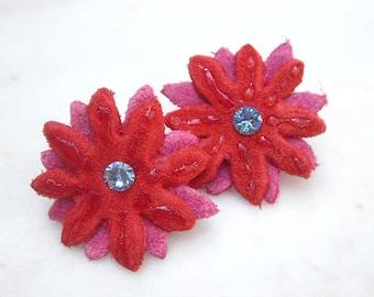 Leather flowers earrings blue swarovski post earrings red pink