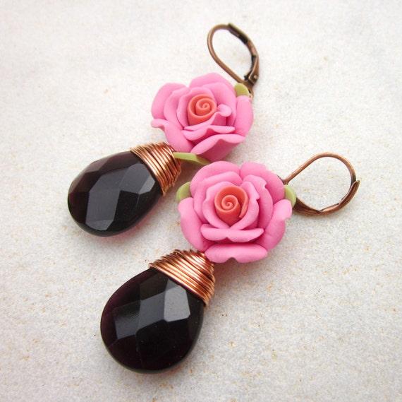 Romantic rose earrings polymer clay flower earrings amethyst quartz earrings