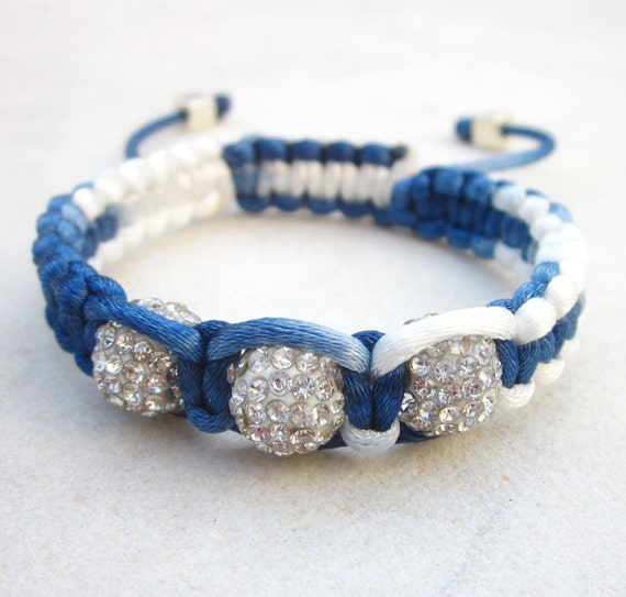Friendship bracelet navy bracelet macrame rhinestone bracelet disco ball bracelet white blue