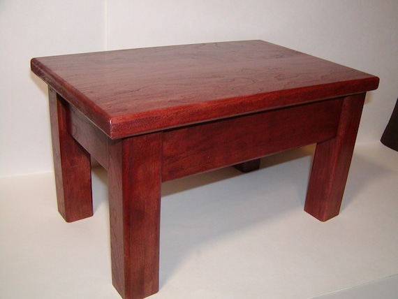 Solid cherry wood step stool bedside kitchen for Cherry wood step stool bedroom