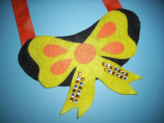 Fabulous Felt Yellow Bow Necklace