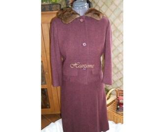 Vintage 60s dress Davidow designer wool tweed suit skirt jacket fur collar hat