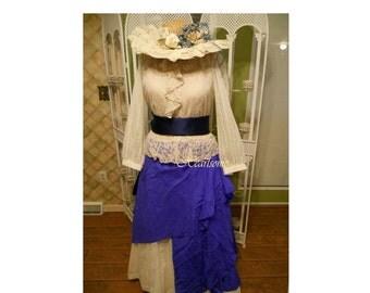Dress Victorian Prairie pioneer skirt vest hat costume 6 pc ensemble lace  blue