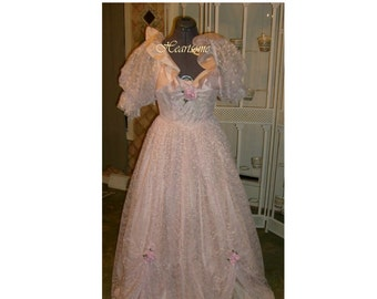 Victorian masquerade style gown dress Southern Belle Civil War Antebellum pink lace puff