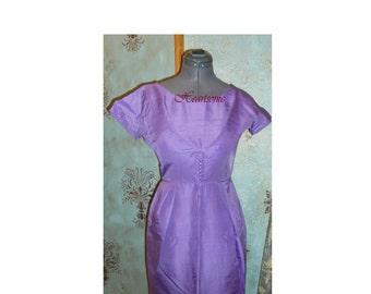 Vintage dress 50s 60s wiggle lavender purple office stage mod retro