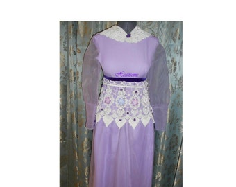 Maxi dress gown 70s gone Regency Victorian flowers lace purple Titanic costume