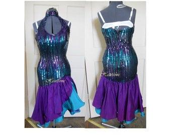 Vintage sequin 80s dress Mardi Gras rumba dance purple teal fishtail mermaid formal performer