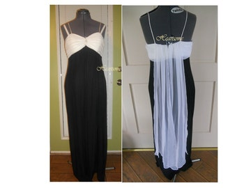 Elegant 50's style formal dress glam starlet  gown black white wiggle old hollywood