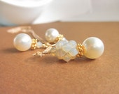 Set of Earrings and Necklace - Gold Filled Chain, Swarovski Crystals and Pearls - Vermeil, Gold, ivory, Mothers Day, Gift, Elegant, Gorgeous