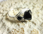 Wire Wrapped Ring 8.25 -  Swarovski Crystals - Sterling Spacers, Silver, Black, Bright, Vanilla, Ivory, Cute, Simple, Mom, Night, Shadow