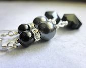 Wire Wrapped Earrings - Black Flower Faceted Onyx Gems, Swarovski Pearls, Dangle, Grey, Smoke, Silver, Bright, Elegant, Night, Party, Gala, Exclusive Design by Gabeadz