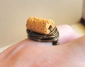 Mustard Lava RING. Size 5 - Lava Stone - Mustard, Dark Yellow, Brown, Coffee, Caramel, Candy, Golden, Brass, Otter Brown, Jewelry Rings
