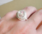 Wire Wrapped Ring - Size 5.5 - Clear Stone, Transparent, Wedding, Handmade, Cute, Simple, Nice, Bride, White, Lovely