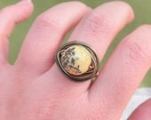 Yellow Turquoise Ring, Jewelry Rings, Cocktail Ring, Rustic Ring, Brown Ring, Green Ring, To Order, Olive Ring, Green, Bronze, OOAK Ring