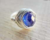Royal Blue Ring, Jewelry rings, Silver Rings, Cocktail Rings, Blue Ring, To Order, Cobalt, Purple, Crystal, Faceted, Bright, Handmade Ring