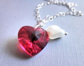 Red Heart Necklace - Love, Ruby, Cream, Red, Wine, Burgundy, Pearl, Crystal, Sterling Silver, White, Mom, Romantic, Romance, Jewelry