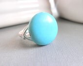 Turquoise Ring, Turquoise Bead Rings, Wire Wrapped Ring, Size 5.5, Chalk Turquoise, Blue Ring, Round Turquoise Ring, Boho Rings, Bohemian