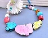 MAGNESITE TURQUOISE Necklace -18 inches- Mix of colors, Mix, Pink, Yellow, Blue, Pearls, Shells, Red, Green, Aqua, Orange, Heavy, Modern