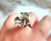 Wrapped RING . To Order - Polymer Flower Bead - Rose, Almond, Green, Mint, Light Brown, Brass, Otter Brown, Rustic, Autumn, Shadow