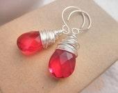 Red Briolette Earrings - Wrapped, Red, Berry, Strawberry, Watermelon, White, Bright, Winter, Jewelry Earrings, Drop Earrings