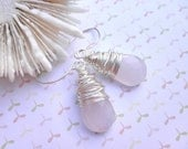 Pink Briolette Earrings - Wire Wrapped, Pink, Light Pink, Baby Pink, Pastel, Bright, Faceted, Wire, Pretty, Spring, Adorable