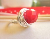 RED RING - To Order - Wire Wrapped Ring, Red, Coral, Holiday, Xmas, Patriotic, Gift, Independent Day, Silver, Passion, Blood, Simple