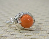 Wire Wrapped Pearl Ring. Size 5.5 - Swarovski Pearl Rings, Coral, Peach, Apricot Orange. Bride Pearl RIng, Simple Classic Romantic Lovely