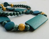Wood Necklace - Teal Necklace, Jewelry Necklace, Tribal Jewelry, Rustic Necklace, Boho Necklace, Geometric Jewelry, Green, Mustard Wood