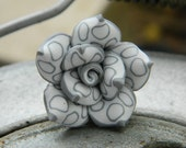 Rose Ring - Size 6 . Clay Flower, Grey, White, Romantic, Unique, Bridesmaids, Stripes, Circles, Lines, Feminine, Lovely