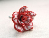 Rose Ring - Size 7 . Clay Flower, Red, White, Romantic, Unique, Bridesmaids, Stripes, Circles, Lines, Feminine, Lovely