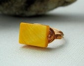 Mother of Pearl Ring - To Order - Pearl, Rectangle, Yellow, Mustard, Amber, Banana, Rustic, Autumn, Fall, Bright, Handmade Rings, Jewelry