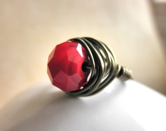 Ruby RING . To Order - Red Ruby Rondelle - Brass, Otter Brown, Dark Red, Oxblood, Garnet, Burgandy, Seductive, Dark, Fall, Jewelry Rings