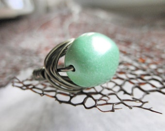 Mint Ring, Green Ring, Jewelry Rings, Handmade Ring, Size 4.75, Lime Green Turquoise, Rustic Ring, Copper, Bronze, Celadon Ring, Sea Rings