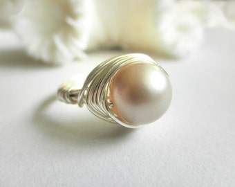 Pearl Ring, Jewelry Rings, Silver Rings, Swarovski Pearl Ring, Cream Almond Ivory Beige, Bride Rings, Bridal Jewelry, Classic Ring, To Order