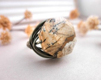 Jasper Ring, Jewelry Rings, Stone Rings, Rustic Ring, Gemstone Ring, To Order, Brass, Nature, Brown Ring, Cocoa Ring, Caramel, OOAK Ring