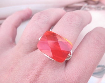 Red Ring - To Order - Custom - Ruby, Silver, Xmas, July Stone, Feminine, Sexy, Pretty, Unique, Spring, Bright, Rectangle
