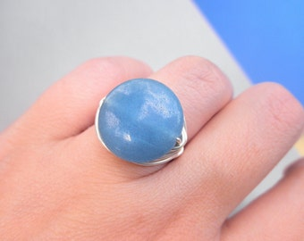 Blue Ring, Aqua Dyed Jade Ring, Jewelry Rings, Silver Rings, Blue Jewelry, Cocktail Rings, Iceberg, Aqua, Beach, Sea, Nautical, Size 5.5