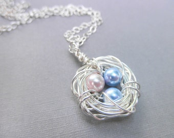 Three Child Bird's Nest Necklace -- Three Kids, Pearls, Blue, Baby Blue, Pink, Pastel, Easter, Egg, Sister, Brother, Mother's Day