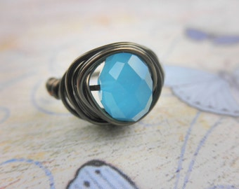 Wire Wrapped Ring - To Order - Handmade, Aquamarine Faceted Rondelle, Bronze, Rustic, Tiined, Blue, Ocean, Aqua, Sky, Opal, Simple