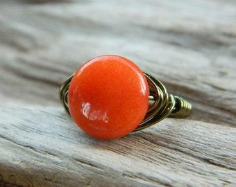 Orange Ring, Jade Ring, Jade Bead Ring, Dark Orange Ring, Fire Orange Ring, To Order, Halloween Jewelry, Orange Rustic Ring, Statement Rings