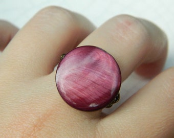 Mother of Pearl Ring. To Order - Shell, Wine, Burgundy, Plum, Dark Purple, Grape, Classic, Romantic, Jewelry Rings, Shell Ring, Wine Ring