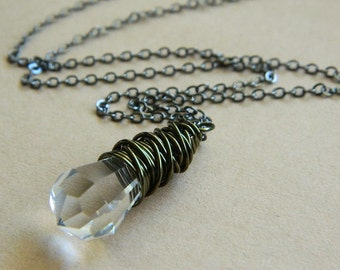 Wire Wrapped Drop Necklace -- German Crystal Teardrop, Clear, Rustic, Gunmetal, Bronze, Brass, Water, Faceted, Love, Simple