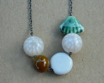 Ceramic Necklace, Porcelain Necklace, Resin Necklace, Brown White Green Necklace, White Stones Necklace, Irregular Necklace, Bib Necklace