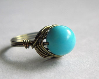 Turquoise Ring, Jewelry Rings, Turquoise Jewelry, To Order - Blue Ring, Cocktail Rings, Rustic Ring, Brown, Fashion Jewelry, Jewel, Size 9