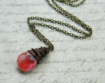 Salmon Necklace - Quartz Briolette Drop, Wire Wrapped, OOAK, Cherry Pink, Orange, Apricot, Brick, Faceted, Simple, Jewelry Necklace