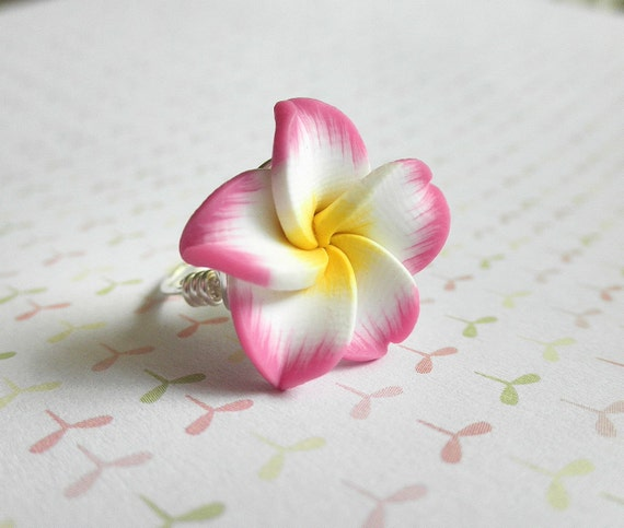 Rose Ring - Size 6.25 - Pink Flower, Yellow, White, Baby Pink, Amaranth Pink, Pretty, Feminine, Romantic, Lovely, In Love, Modern, Unique