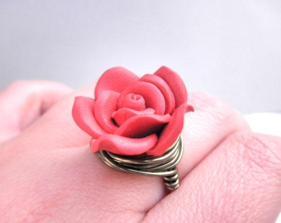 Handmade Ring - Size 6 - Clay Flower, Brick, Terracotta, Red, Dark Red, Burgundy, Fall, Rose, Floral, Cute, Unique, Rustic, OOAK, Feminine