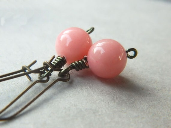 Pink Earrings- Pink Jade  - Baby Pink, Coral, Brown, Antiqued, Brass, Lovely, Simple, Round, Romance, Soft, Mom, Everyday, Cute
